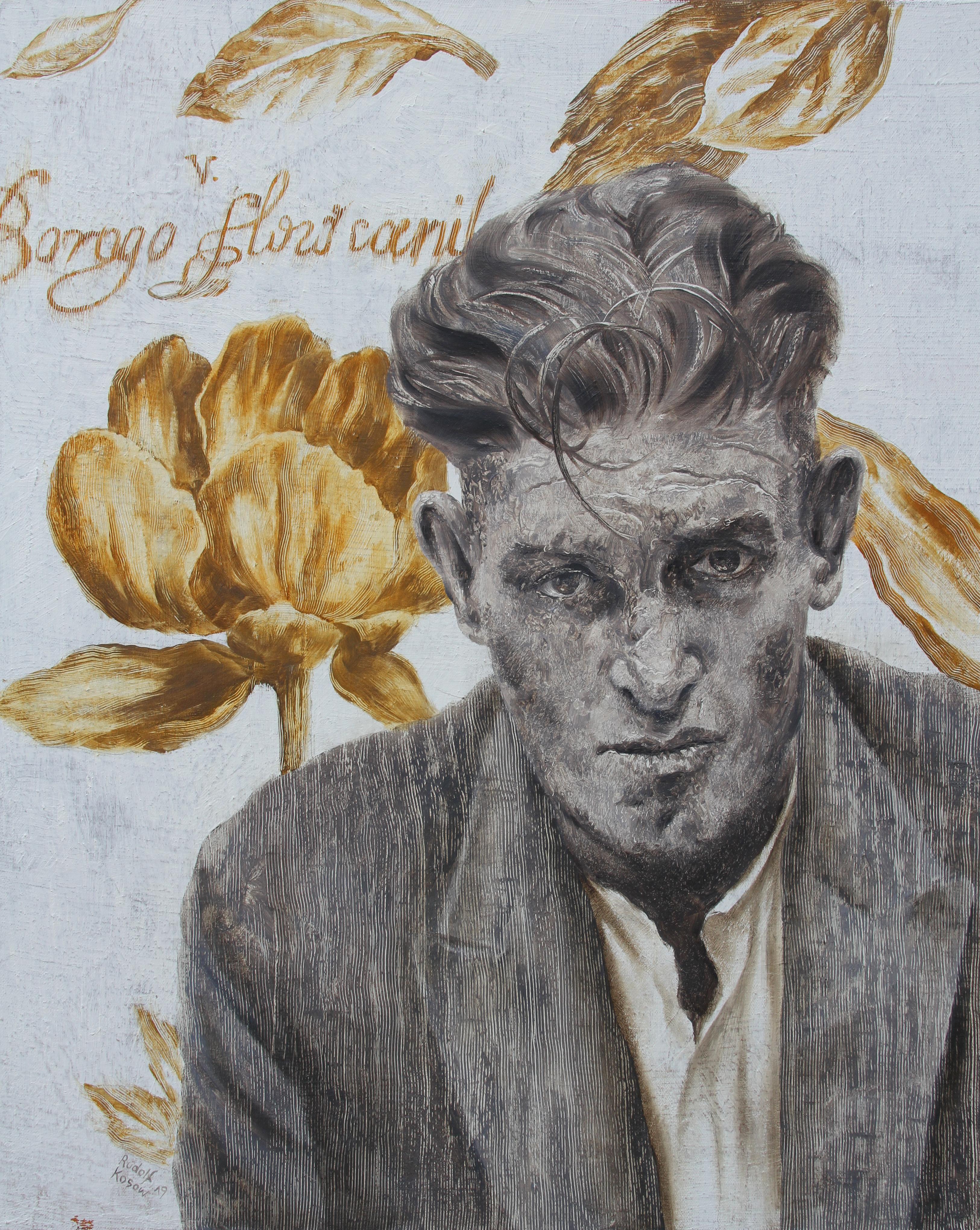 Desperate Mr. D  (oil painting monochrome vintage man portrait nostalgia flowers