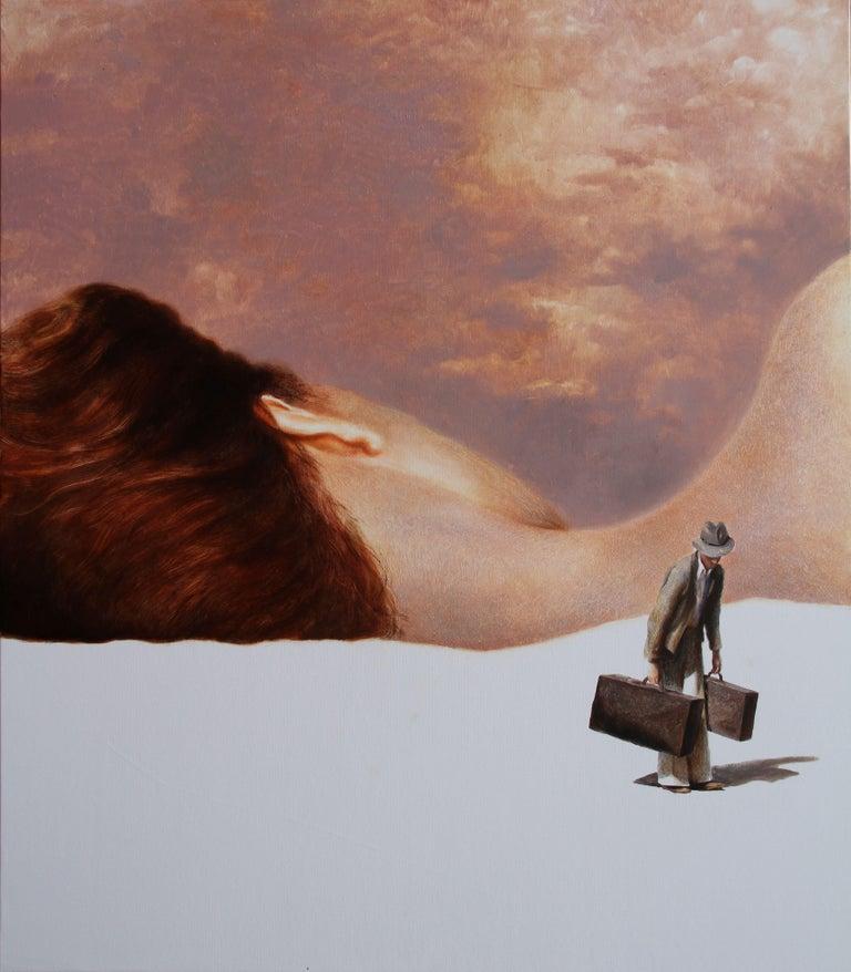 Rudolf Kosow Portrait Painting - Discord (couple oil painting suitcase vintage nostalgia sleeping beauty skin)
