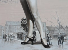 Dizzy (lady woman legs high heels black and white flesh tones monochrome city)