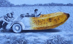 Dreamers (yellow banana vintage car surrealist oil painting grey monochrome)