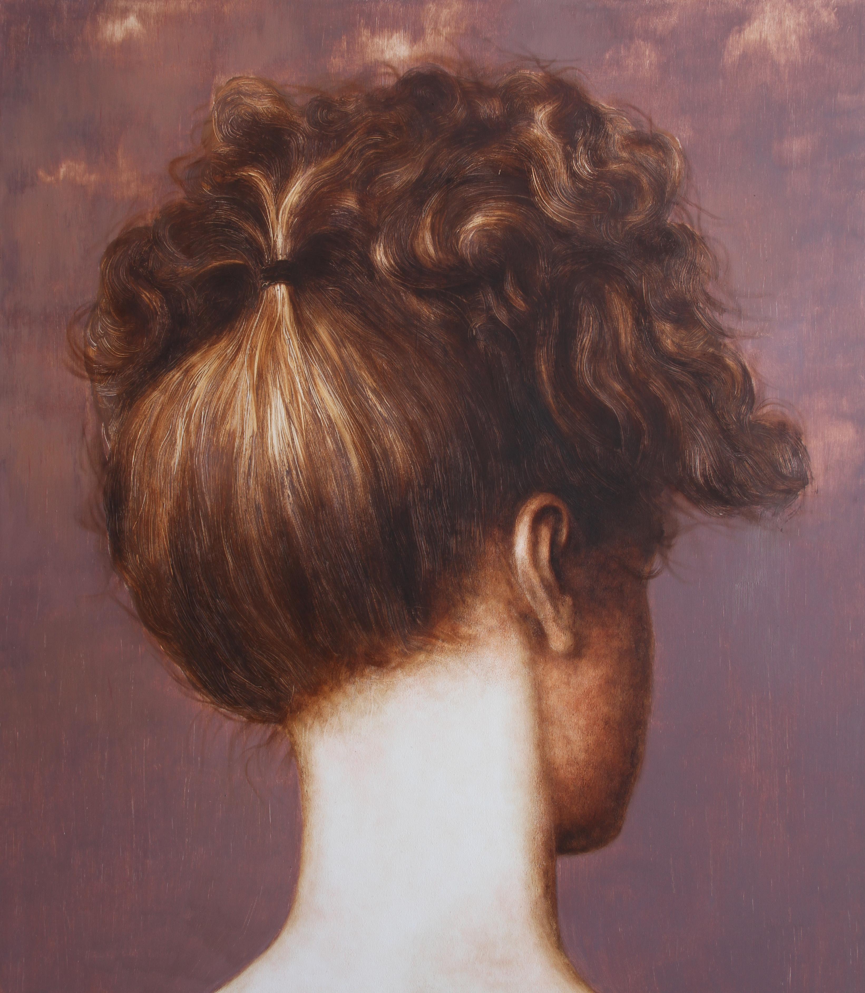 Erwartungsvoll (oil painting woman portrait hair neck flesh tones vintage art)