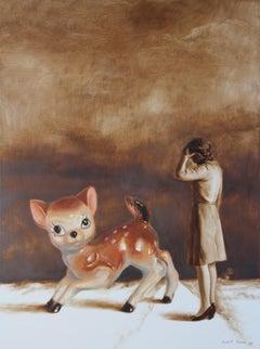 Escapee (porcelain bambi vintage art lady brown earth tones surrealist painting)