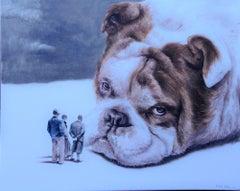 Gloomy (pet english bulldog dog surrealism animal men neutral tones)