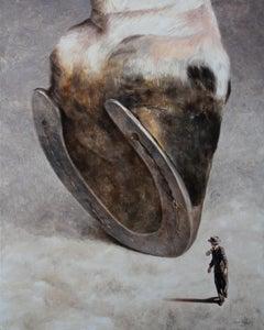 Happening (horse leg horseshoe farm animal equestrian man oil painting vintage)