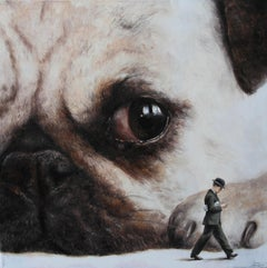 Incident (Pug face dog man's best friend vintage oil painting surreal