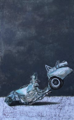 Irreversibility (vintage old car wreck nostalgia light blue auto oil painting)