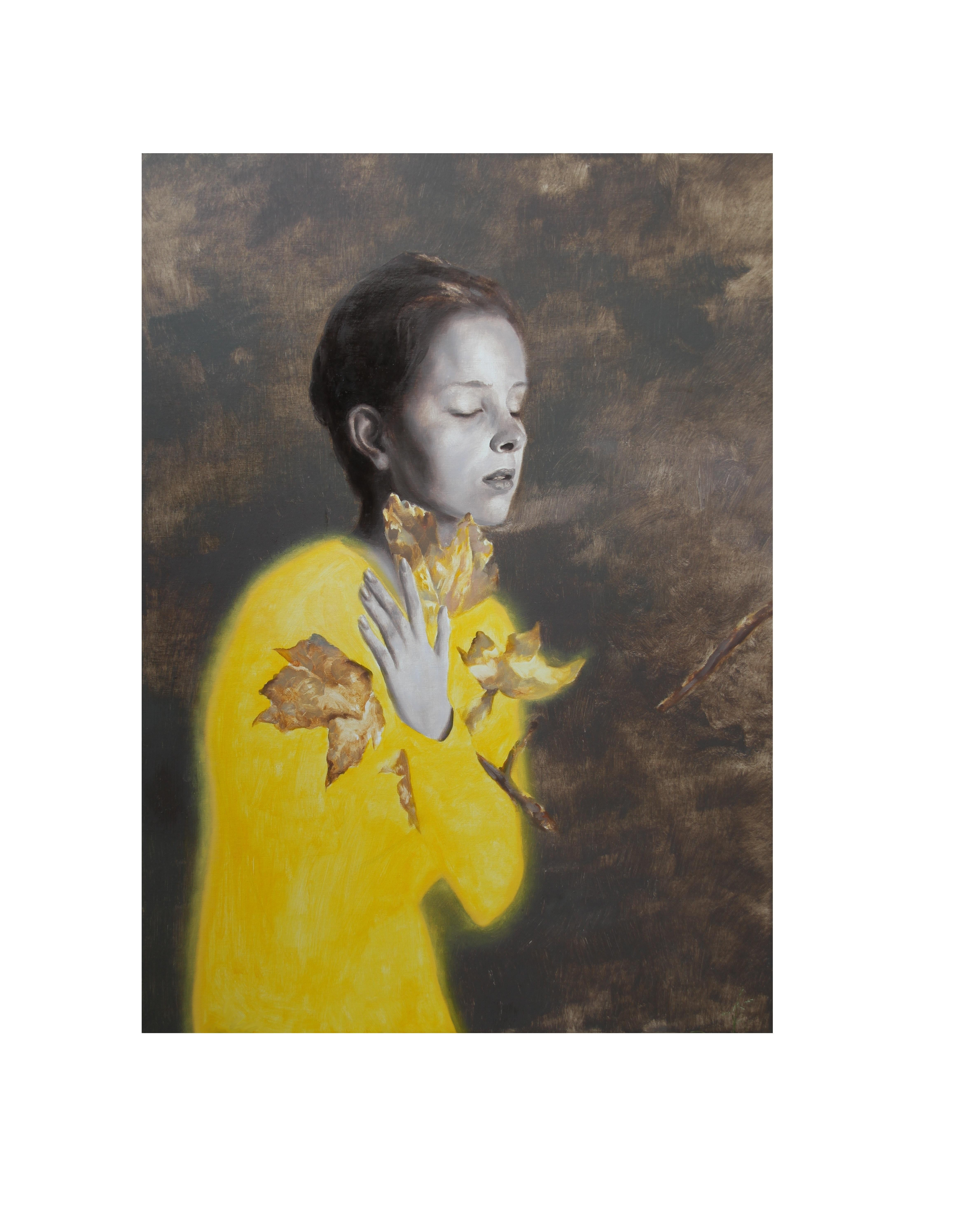 Last Leaves (young girl yellow shirt fall leave portrait figurative oil painting