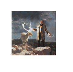 Magic (animal figurative oil painting surrealist deer man reindeer scenery)