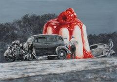 Mind Blowing (vintage car surrealist oil painting grey monochrome dessert cake)