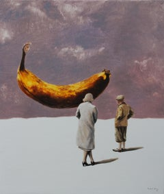 Miracle (yellow banana couple surrealist oil painting comical vintage figurative