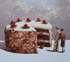 Missing Pieces (oil painting surrealist birthday cake dessert couple cherry red)