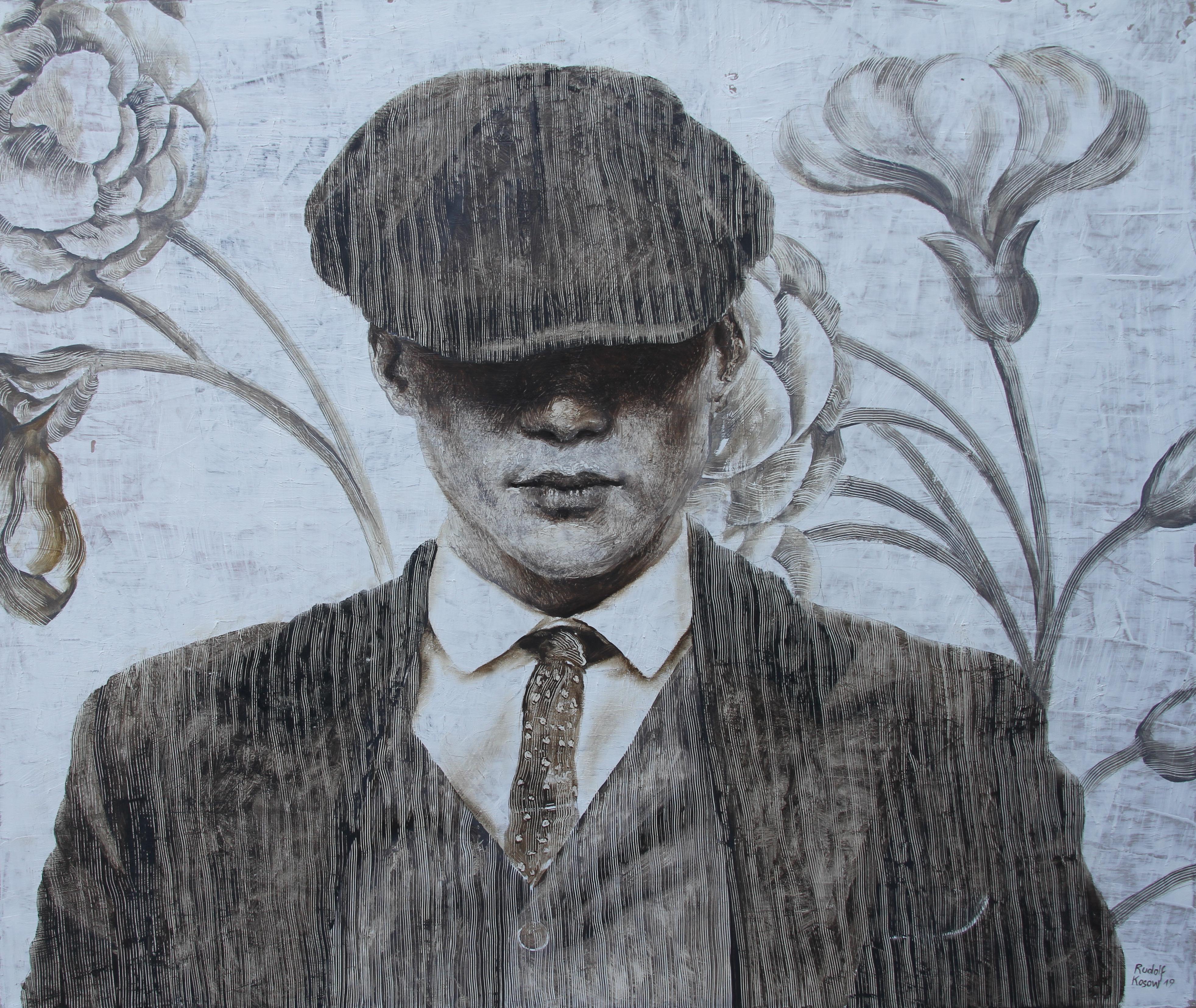 Mr. J. W  (oil painting monochrome vintage art man hat portrait faded neutrals)