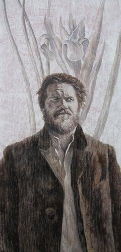 Mr. L (oil painting monochrome vintage old man beard portrait nostalgia flower)