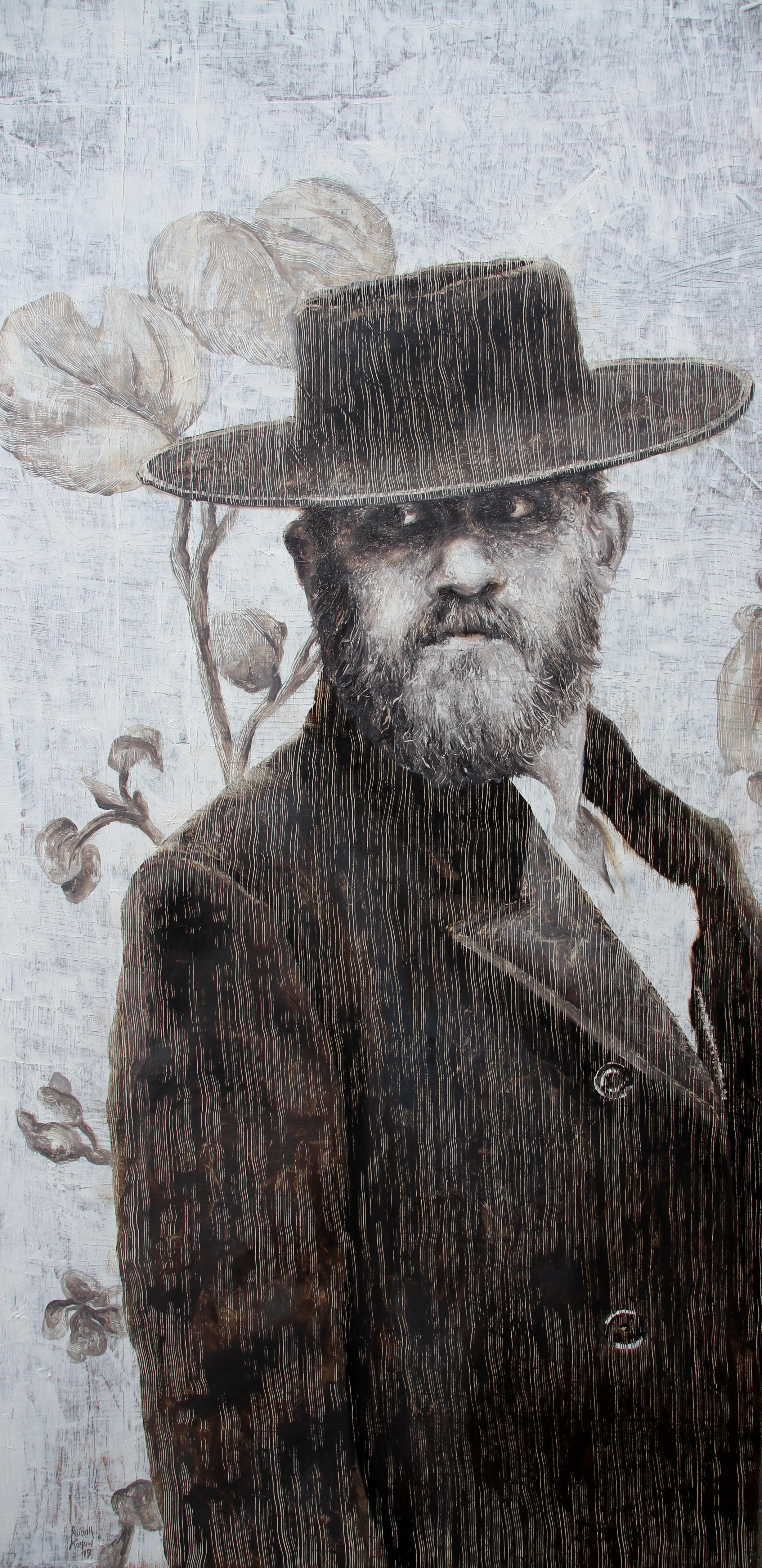 Mr. L (oil painting monochrome vintage old man beard portrait nostalgia, hat)