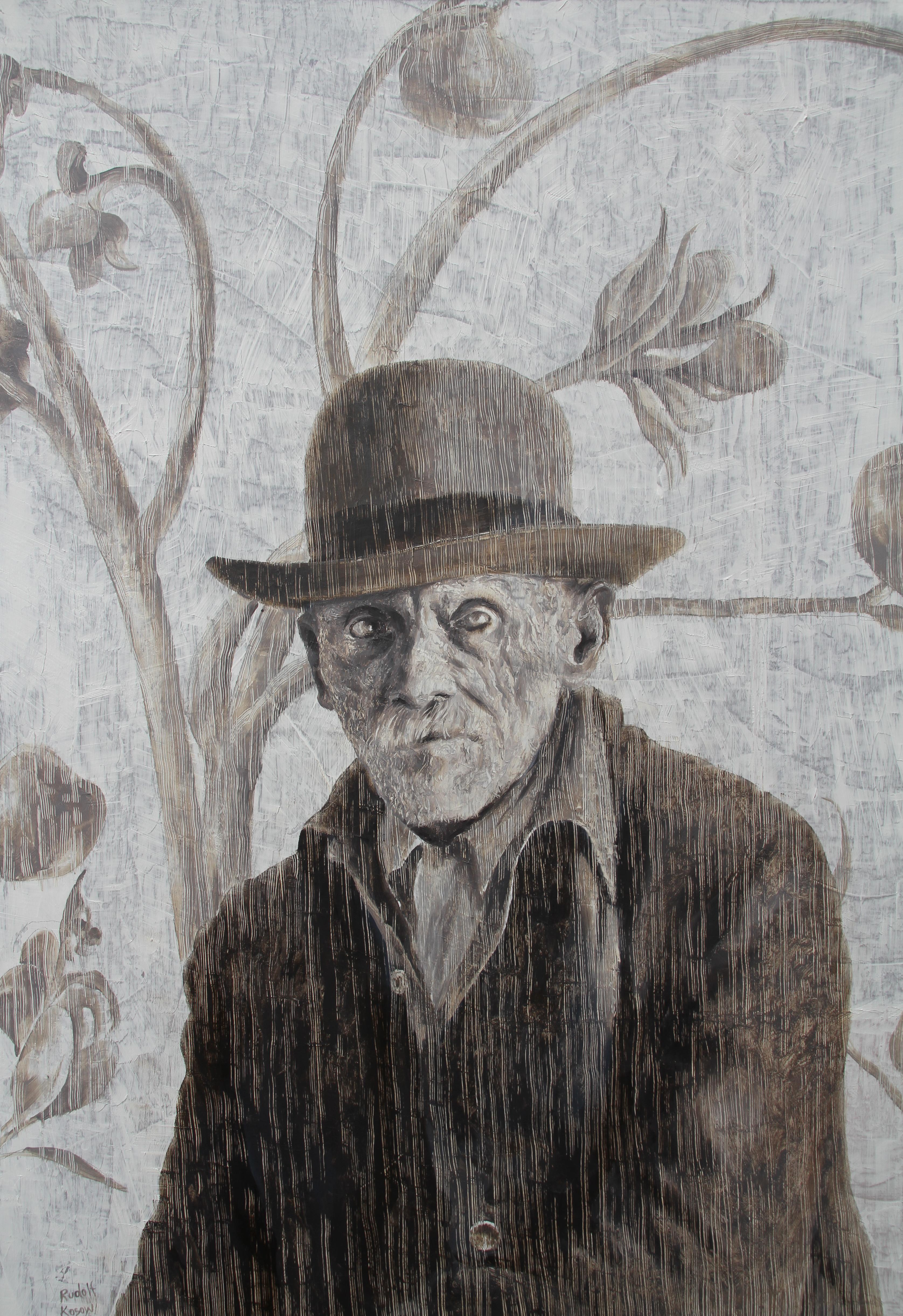Omnicient (oil painting grey monochrome vintage old man beard portrait nostalgia