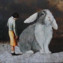 Rabbit 2 s (surrealist oil painting woman rabbit figurative vintage earth tone