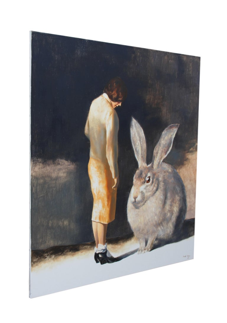 Rabbit (surrealist oil painting woman giant rabbit figurative vintage earth tone - Painting by Rudolf Kosow