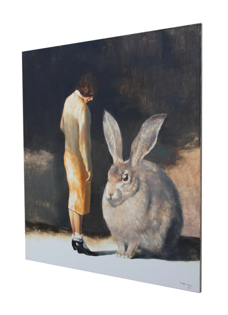 Rabbit (surrealist oil painting woman giant rabbit figurative vintage earth tone - Surrealist Painting by Rudolf Kosow