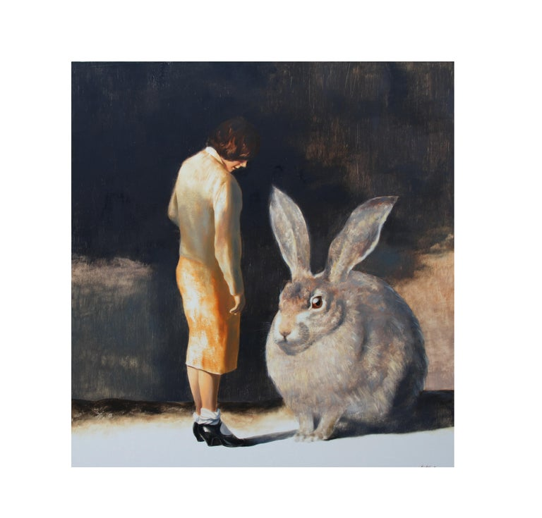 """A certain """"mistake"""" creates a strange and mysterious atmosphere in this painting, where normal, everyday things are depicted. The inconsistency in the size difference forces the viewer to derive its own interpretation: is this meeting of a young"""