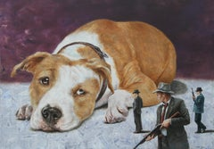 Rebel (pitbull dog ear surrealism scale animal armed men nostalgia vintage art)