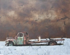 Relic 2.18 (vintage car old rusty truck wreck nostalgia monochrome oil painting)