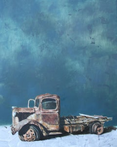 Relic 2.19 (vintage car old teal rusty truck wreck nostalgia oil painting)