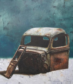 Relic 2.20 (vintage teal old rusty truck wreck nostalgia monochrome oil painting