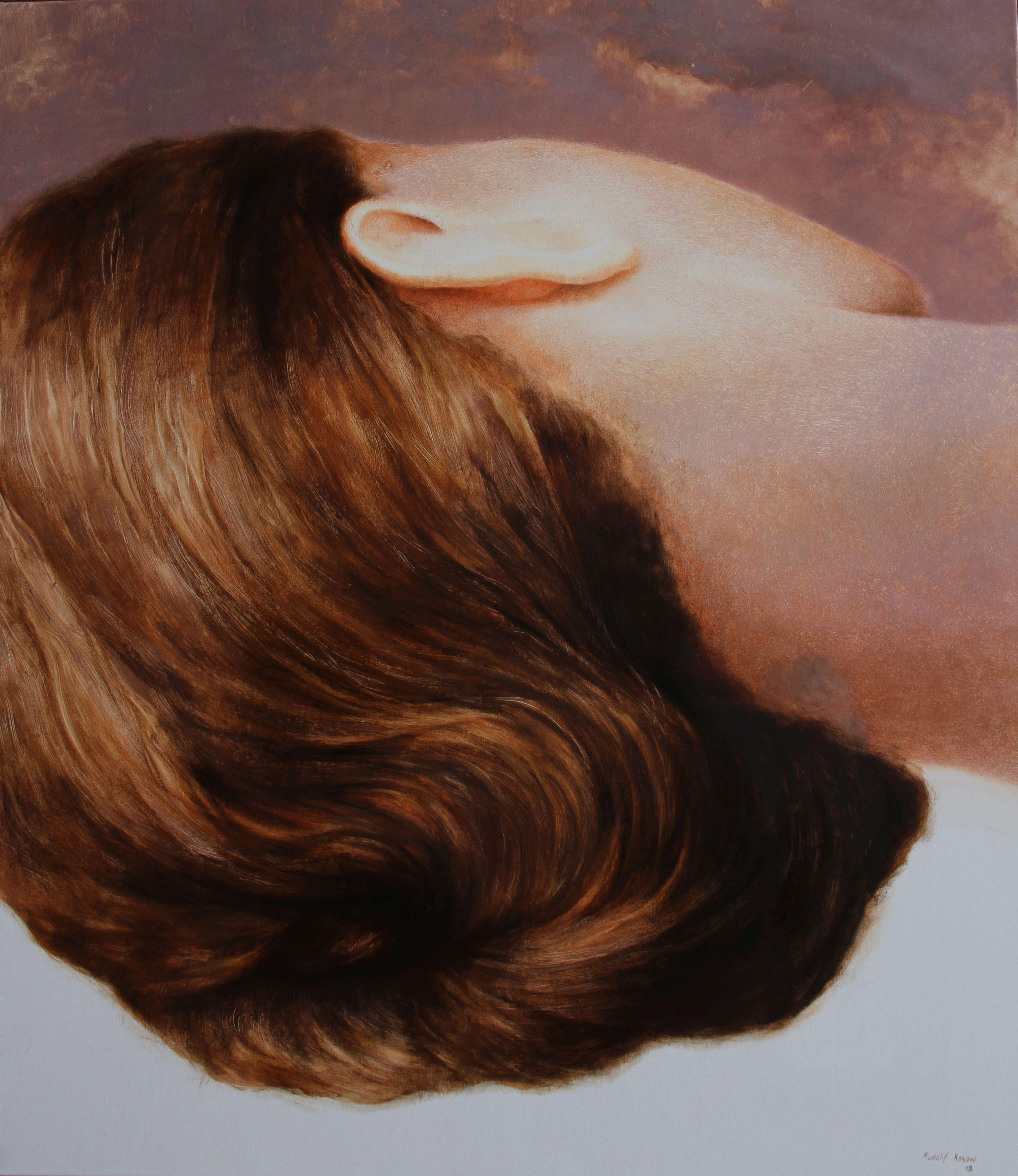 Repose (sleeping beauty woman hair portrait figurative oil painting flesh tones
