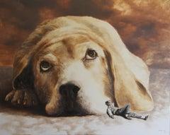 Runaways (surrealist oil painting dog man's best friend figurative animal golden