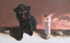 Stranger (black kitten woman nostalgia vintage photograph enigma earth tones)