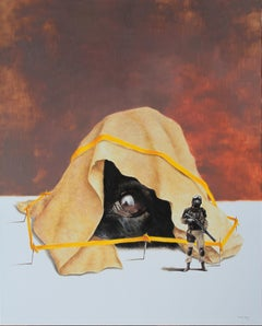 Stranger (dog soldier cop surrealist crime scene oil painting yellow tape)