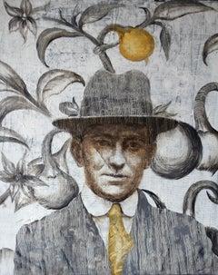 Suspicious Mr. J (oil painting grey monochrome vintage portrait nostalgia man)