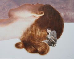 Together (oil painting vintage couple figurative nostalgia sleeping beauty flesh