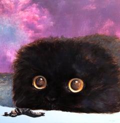 Together I (purple surrealism eyes black animal head comical mystery figurative