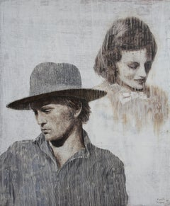 Unforgotten  (oil painting monochrome vintage couple hat portrait earth tones