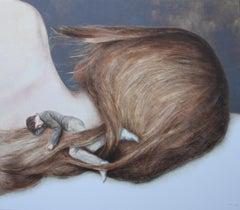 United (figurative oil painting couple romantic surrealism hair sleeping love)
