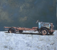 Used and Needless (painting vintage old American tractor wreck nostalgia farm