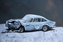 Useless (painting vintage old car wreck nostalgia light blue auto oil painting)