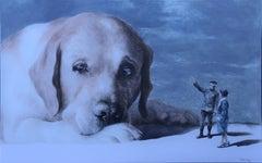 Vagabond (labrador retriever pet dog surrealism animal neutral tones)