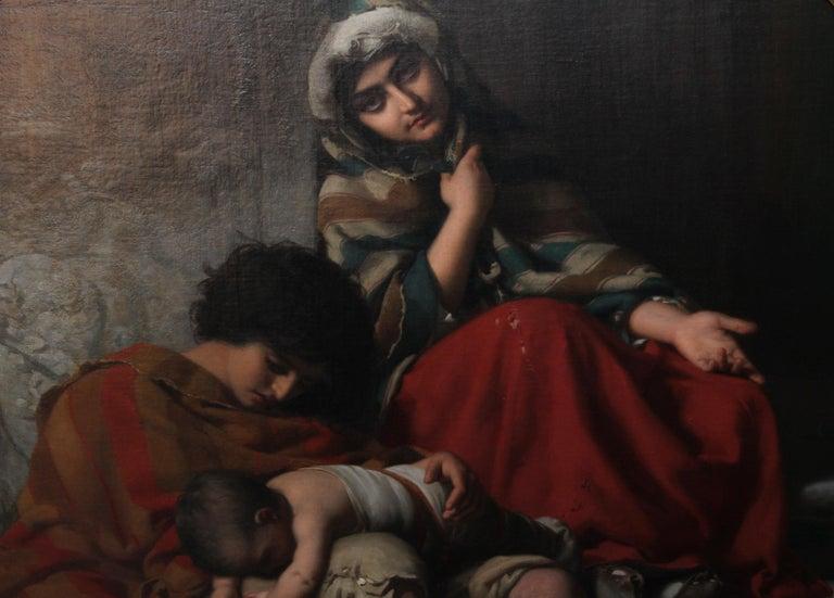 Charity - Royal Academy exhib. 19thC art Pre-Raphaelite portrait oil painting - Black Figurative Painting by Rudolf Lehmann
