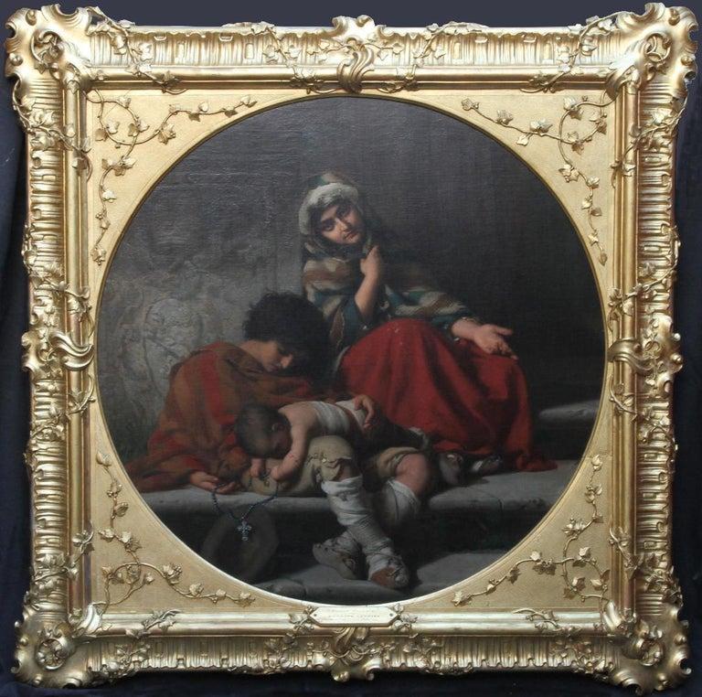 Rudolf Lehmann Figurative Painting - Charity - Royal Academy exhib. 19thC art Pre-Raphaelite portrait oil painting