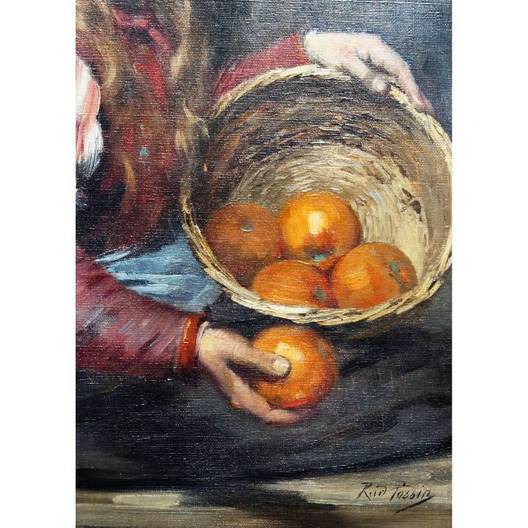 Carved Rudolf Possin 19th Century Oil on Canvas Girl Selling Oranges For Sale