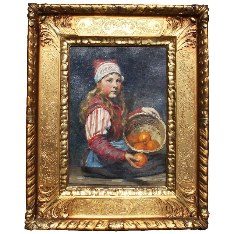 Rudolf Possin 19th Century Oil on Canvas Girl Selling Oranges For Sale