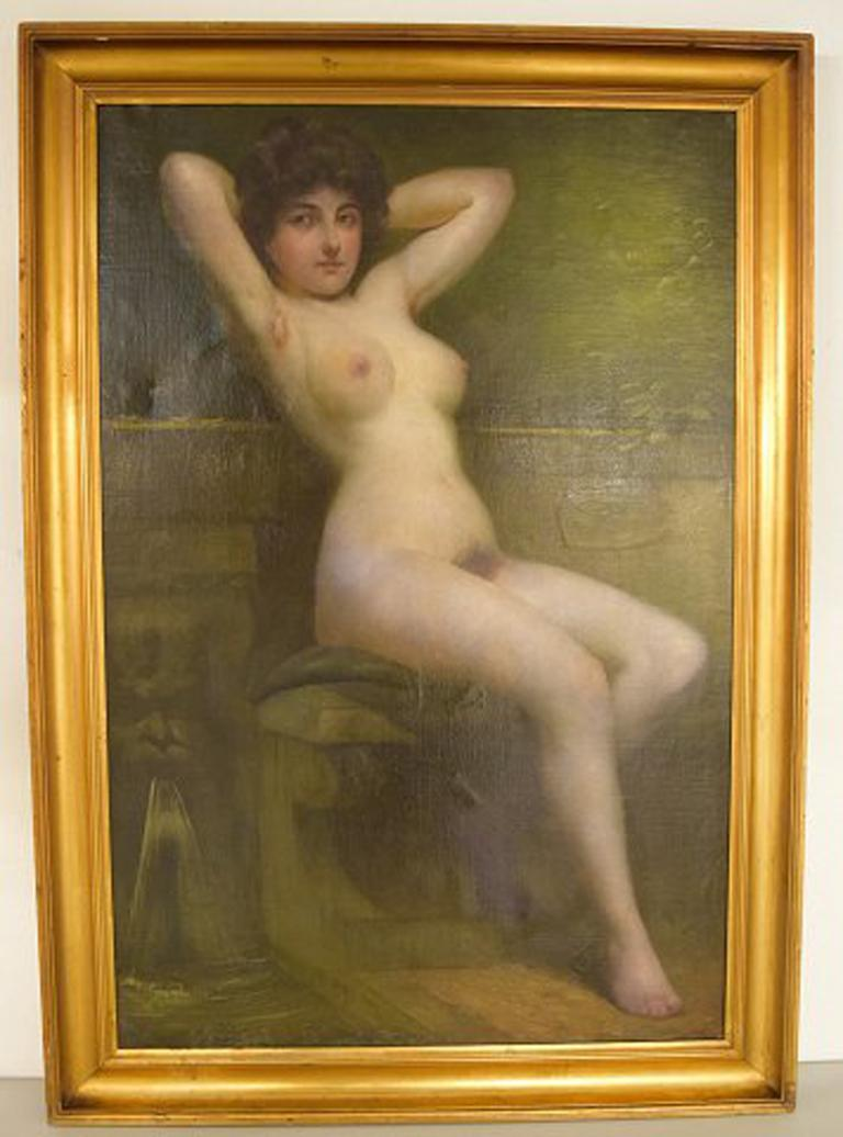 Rudolf Preuss, Austrian painter (b.1879, 1961). Oil on canvas. Seated young nude model. Dated 1899. In very good condition. Minor retouching. The canvas measures: 104 x 59.5 cm. The frame measures: 8 cm. Signed and dated.