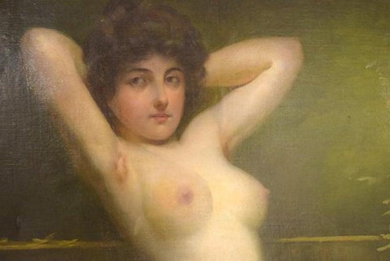 Belle Époque Rudolf Preuss, Austrian Painter 'B.1879, 1961', Seated Young Nude Model For Sale