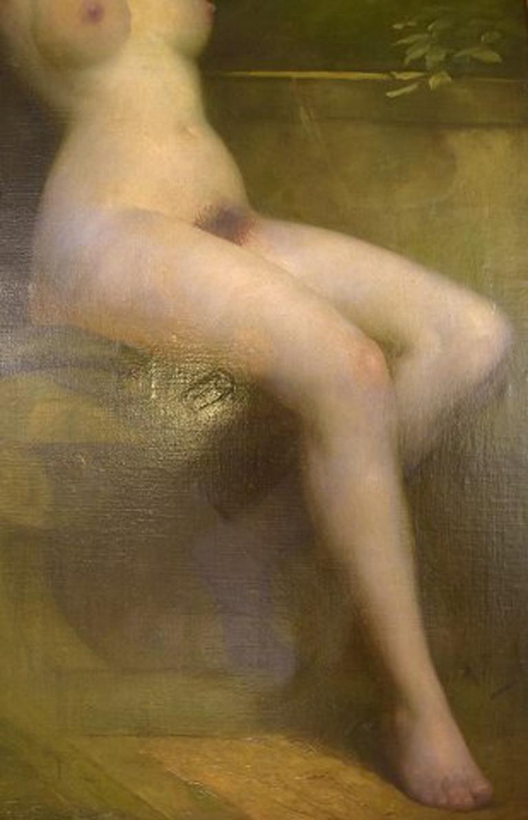 Rudolf Preuss, Austrian Painter 'B.1879, 1961', Seated Young Nude Model In Good Condition For Sale In Copenhagen, Denmark