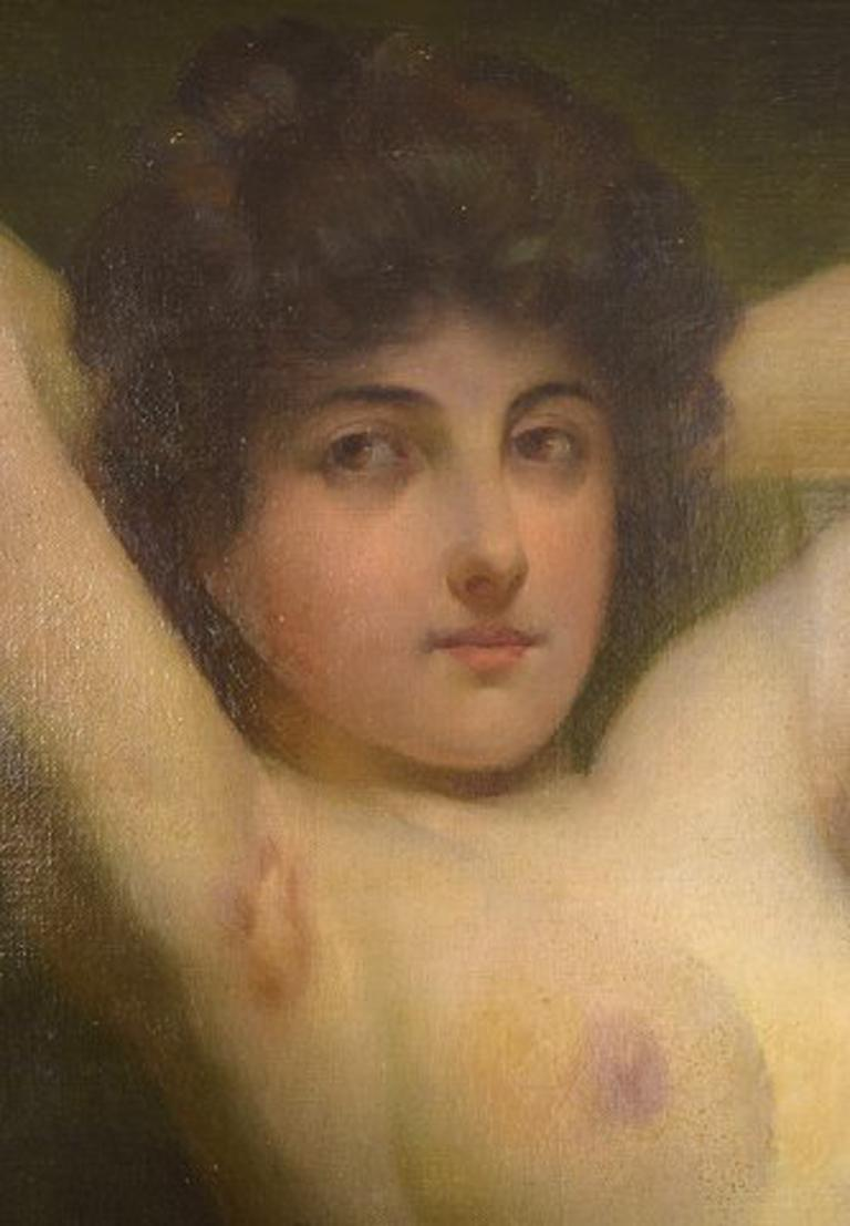 Rudolf Preuss, Austrian Painter 'B.1879, 1961', Seated Young Nude Model For Sale 3