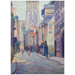 "Rudolf Quittner ""Rouen Cathedral"" Oil on Canvas, circa 1900"