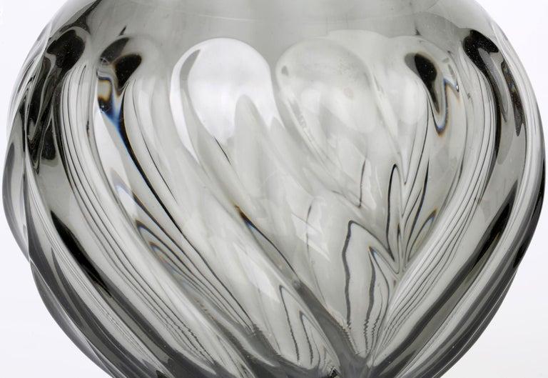 Rudolf Schrötter for Inwald Art Deco Grey Green Moulure Moderne Art Glass Vase In Good Condition For Sale In Bishop's Stortford, Hertfordshire