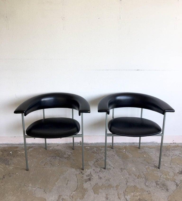 Minimalist Rudolf Wolf, Pair of Dutch Design Black Metal Armchairs, Model Gamma, 1960s For Sale